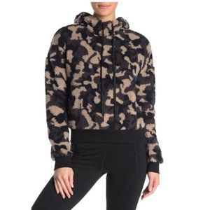 Zella Faux Shearling Camouflage Hooded Sweater